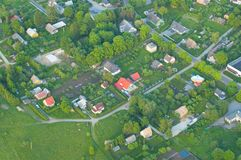 Areal view of a settlement. Aerophoto of a settlement in Kuusalu, Estonia Royalty Free Stock Images
