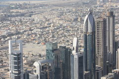 The areal view of the Sheikh Zayed Road in Dubai. The view from the top of Burj Khalifa the world's tallest building over the downtown Dubai and the Sheikh Zayed Stock Photo