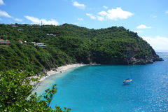Areal view at Shell beach at St  Barts, French West Indies Stock Photography