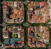 Areal view of some buildings in Barcelona, Kataluna. Areal view of some buildings in Barcelona, Kataluna taken with a dji mavic pro drone royalty free stock image