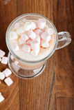 Areal view to the hot chocolate with marshmallows Royalty Free Stock Photography