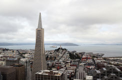 Areal view on Transamerica building and Coit Tower on overcast day in San Francisco stock photos
