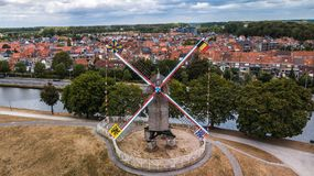 Areal view of a windmill in Bruges, Belgium. Areal view of a windmill in Bruges, Belgium, the most beatifull city of the country stock photography