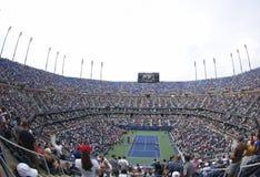 Areal widok Arthur Ashe stadium przy Billie Cajgowego królewiątka tenisa Krajowym centrum podczas us open 2013 Zdjęcia Royalty Free