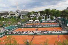 Areal widok gliniani sądy przy Le Stade Roland Garros podczas Roland Garros 2015 obraz stock