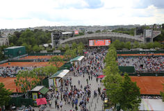 Areal widok Le Stade Roland Garros Suzanne Lenglen podczas Roland Garros 2015 i sąd obrazy stock