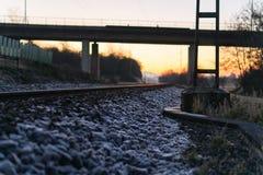 Areal widok linia kolejowa mostem podczas zimy Obraz Stock