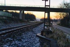 Areal widok linia kolejowa mostem podczas zimy Obrazy Royalty Free