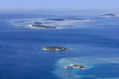 Areal widok Maldivian atole, Eden na ziemi Fotografia Stock