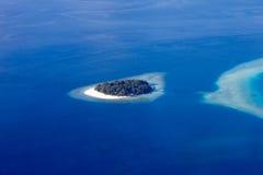 Areal widok Maldivian atole, Eden na ziemi Obraz Stock