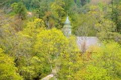 Areal widok na Gauja rzecznej dolinie w wiośnie Obraz Royalty Free