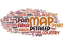 Areas On A Detailed Map Of Spain Word Cloud Concept Stock Image