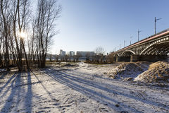 Areas near the Vistula River by the bridge Stock Photography