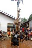 Areca φυλή δέντρο-αναρρίχησης για να τιμήσει την μνήμη της ημέρας της ανεξαρτησίας της Ινδονησίας Στοκ φωτογραφίες με δικαίωμα ελεύθερης χρήσης