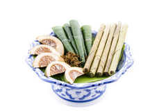 Areca nut, betel nut chewed with the leaf is mild stimulant. Stock Images