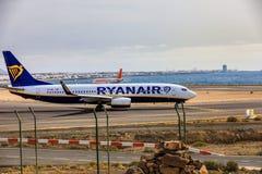 ARECIFE,西班牙- 2017年4月, 15 :瑞安航空公司波音737-800与 图库摄影