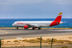 ARECIFE,西班牙- 2017年4月, 15 :空中客车古西班牙A321有的 免版税库存图片