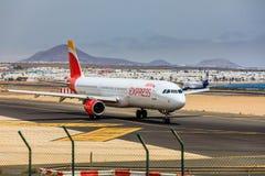 ARECIFE,西班牙- 2017年4月, 15 :空中客车古西班牙A321有的 库存图片