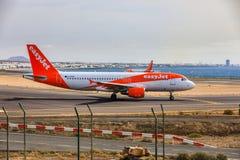 ARECIFE,西班牙- 2017年4月, 15 :空中客车A320 - 200 easyjet关于 免版税库存图片