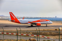ARECIFE,西班牙- 2017年4月, 15 :空中客车A320 - 200 easyjet关于 图库摄影