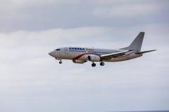 ARECIFE,西班牙- 2017年4月, 15 :COBREX Tran波音737-300  图库摄影