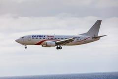 ARECIFE,西班牙- 2017年4月, 15 :COBREX Tran波音737-300  库存图片