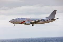 ARECIFE,西班牙- 2017年4月, 15 :COBREX Tran波音737-300  免版税库存照片
