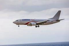 ARECIFE,西班牙- 2017年4月, 15 :COBREX Tran波音737-300  库存照片