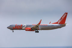 ARECIFE,西班牙- 2017年4月, 16 :Jet2波音737-800与的 免版税库存照片