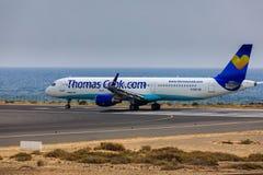 ARECIFE, ΙΣΠΑΝΙΑΣ - 16 ΑΠΡΙΛΙΟΥ, 2017: Airbus A321 ThomasCook COM W Στοκ Φωτογραφίες