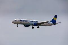 ARECIFE, ΙΣΠΑΝΙΑΣ - 16 ΑΠΡΙΛΙΟΥ, 2017: Airbus A321 ThomasCook COM W Στοκ Εικόνα