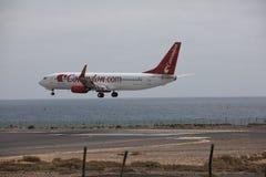 ARECIFE, ΙΣΠΑΝΙΑΣ - 15 ΑΠΡΙΛΙΟΥ, 2017: Boeing 737 - 800 Corendon Κοβάλτιο Στοκ φωτογραφίες με δικαίωμα ελεύθερης χρήσης
