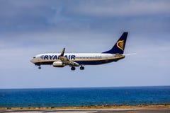 ARECIFE, ΙΣΠΑΝΙΑΣ - 15 ΑΠΡΙΛΙΟΥ, 2017: Boeing 737-800 RYANAIR με Στοκ Φωτογραφίες