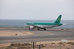ARECIFE, ESPAÑA - ABRIL, 15 2017: Airbus A320 de Aer Lingus en el La Fotografía de archivo libre de regalías