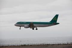 ARECIFE, ESPAÑA - ABRIL, 15 2017: Airbus A320 de Aer Lingus listo Imágenes de archivo libres de regalías