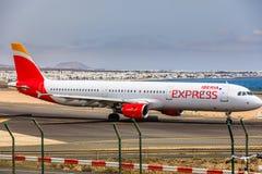 ARECIFE, ESPAÑA - ABRIL, 15 2017: Airbus A321 de IBERIA con Fotografía de archivo libre de regalías