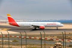 ARECIFE, ESPAÑA - ABRIL, 16 2017: Airbus A321 de IBERIA con Imágenes de archivo libres de regalías