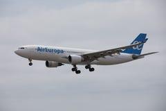 ARECIFE, ESPANHA - ABRIL, 15 2017: Airbus A330-200 do la de AirEuropa Imagens de Stock