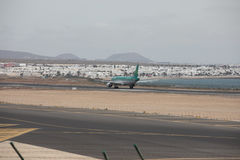 ARECIFE, SPAIN - APRIL, 15 2017: AirBus A320 of Aer Lingus at La. ARECIFE, SPAIN - APRIL, 15 2017: AirBus A320 of Aer Lingus ready to take off at Lanzarote stock photos