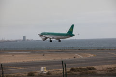 ARECIFE, SPAIN - APRIL, 15 2017: AirBus A320 of Aer Lingus ready. ARECIFE, SPAIN - APRIL, 15 2017: AirBus A320 of Aer Lingus at Lanzarote Airport royalty free stock image