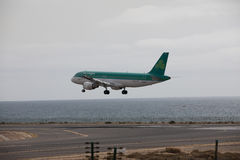 ARECIFE, SPAIN - APRIL, 15 2017: AirBus A320 of Aer Lingus ready. ARECIFE, SPAIN - APRIL, 15 2017: AirBus A320 of Aer Lingus at Lanzarote Airport royalty free stock photography