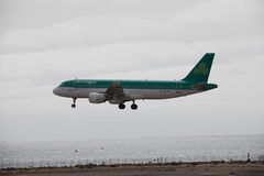 ARECIFE, SPAIN - APRIL, 15 2017: AirBus A320 of Aer Lingus ready. ARECIFE, SPAIN - APRIL, 15 2017: AirBus A320 of Aer Lingus at Lanzarote Airport royalty free stock images