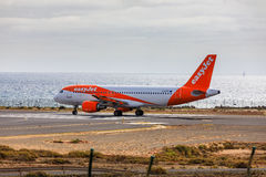 ARECIFE, SPAIN - APRIL, 15 2017: AirBus A319-100 of easyjet read Stock Photos