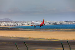 ARECIFE, SPAIN - APRIL, 15 2017: AirBus A321 of IBERIA with the Royalty Free Stock Images