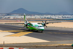 ARECIFE, SPAIN - APRIL, 16 2017: ATR 72 of Binter with the regis. Tration EC-JEH ready to take off at Lanzarote Airport Stock Image