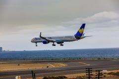 ARECIFE SPANIEN - APRIL, 15 2017: Boeing 757-300 av ThomasCook Co Arkivfoto