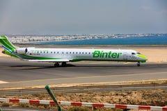 ARECIFE, SPANJE - APRIL, 16 2017: Canadair crj-1000 van Binter-verstand Stock Foto