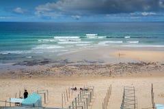 Areia Branca海滩在Lourinha,葡萄牙 免版税库存照片