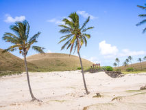 A areia branca na praia de Anakena Imagem de Stock Royalty Free