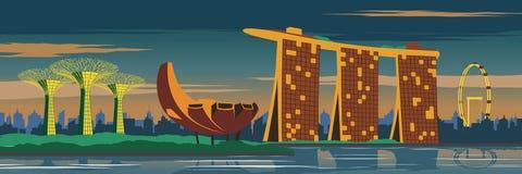 Areia da baía do porto, jardim de Singapura, inseto de Singapura e no sc da cidade ilustração stock